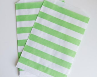 Striped Party Treat Bags - Green