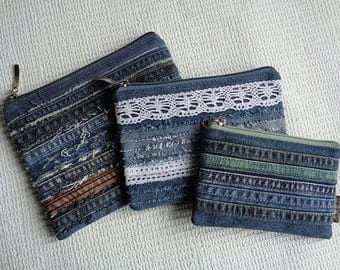 Denim make up pouch cosmetic bag small clutch raggy recycled denim