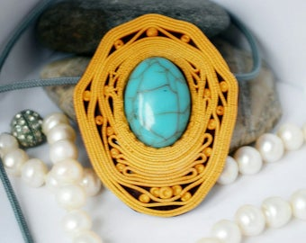 Gypsy style jewelry Boho chic necklace Oval pendant Artistic necklace One of a kind pendant Imitation of turquoise Golden jewelry Bohemian n