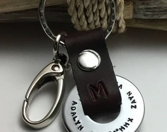 Personalized Key Chain, Men's Key Chain, Gift for Husband, Father, Kids Names