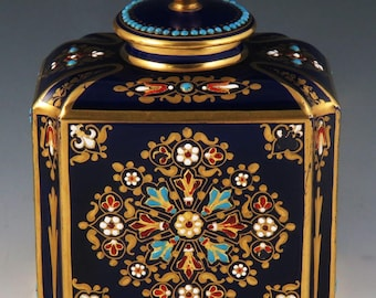 Antique 19th Century French Porcelain Decorative Enameled Tea Caddy