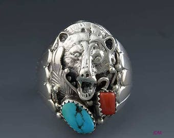 Impressive American Indian Sterling Silver Turquoise Coral Bear Ring sz 11