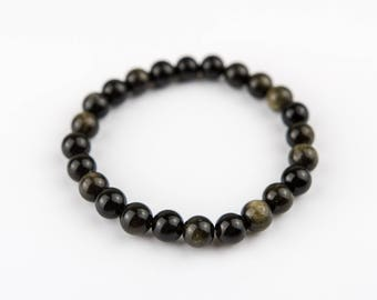 Black gold Agate Stones Beaded Bracelet 8mm