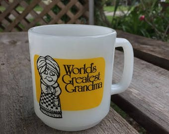 Worlds Greatest Grandma Mothers Day Coffee Cup Mug Milk Glass GlassBake 70s