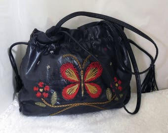 "Vintage FRANCESCO BIASIA Embroidered Leather Drawstring Purse - 9"" High x 13"" Wide X 2"" Deep - Fabulous!"