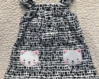 White and Black with Kittens Puppy Dress