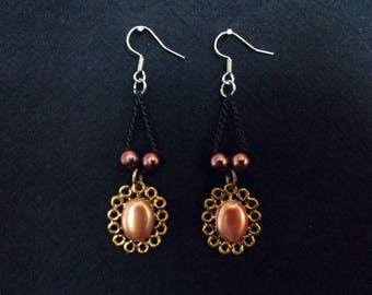 Copper and brass coloured steampunk-inspired earrings