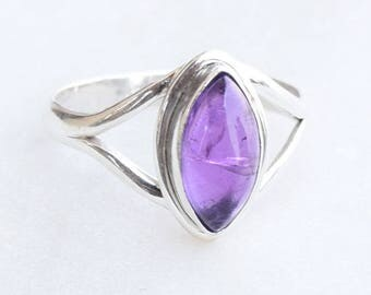 Amethyst Ring, Amethyst Gemstone Sterling Silver Ring, February Birthstone, Purple Stone Ring, Amethyst Jewelry,Promise Ring