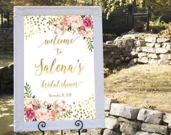 Bridal shower welcome sign, Printable Bridal Shower Sign, Navy and Gold Floral Shower, Wedding welcome sign, Bridal shower sign, BR-12