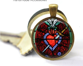 SACRED HEART Key Ring • Church Window • Heart of Jesus • Sacre Coeur • Christian Heart • Catholic • Gift Under 20 • Made in Australia (K452)