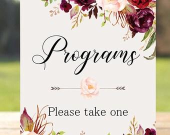 Programs Wedding Sign Digital Floral Marsala Burgundy Peonies Wedding Boho Printable Bridal Decor Gifts Poster Sign 5x7 and 8x10 - WS-024