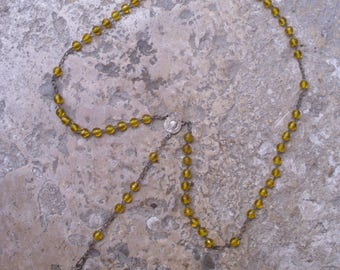 French Antique Rosary with Saffron Yellow Glass Beads Religious, Catholic, Christian