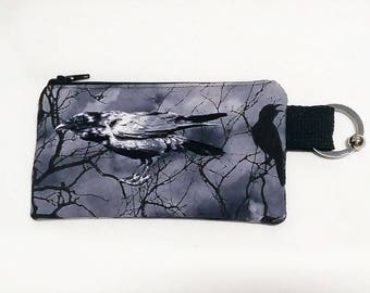 Raven Crow - Large Coin Zipper Coin Pouch - Cute Coin Purse - Change Wallet - Zipper Bag - Card Wallet- Birth control case- Gift Idea-