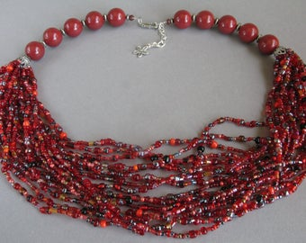 Red beaded necklace, Seed beads jewelry, Red necklace, Multistrand necklace
