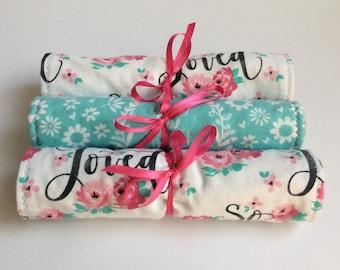 Girl burp cloths, Baby Girl Burp Cloth Set, Loved burp rags, Burp Cloth Set, Absorbent burp cloths, Baby Shower Gift Idea