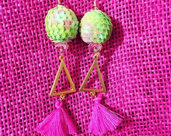 Green and Pink Triangle Tassel Earrings