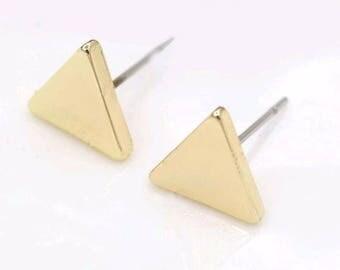 Gold Triangle Stud Earrings Silver Triangles Minimalist Fashion Earrings Shapes Simple Cute Trend