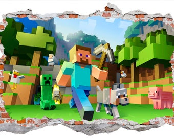 Minecraft Style Smashed Wall Sticker, Wall Decals
