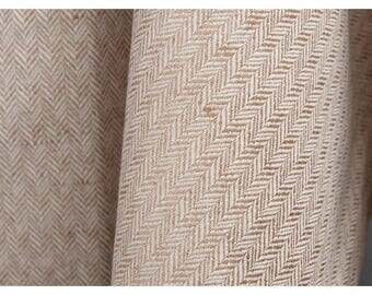 Linen-Cotton blend fabric by the yard - made in Europe - Medium Weight - brown/white herringbone textile