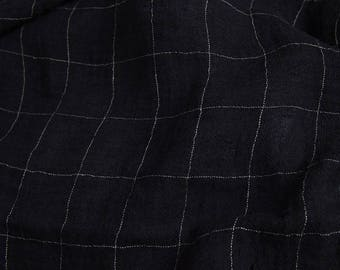 Black lightweight pre-washed 100% LINEN Fabric - European - SOFTENED - Checked pure flax textile - For scarf