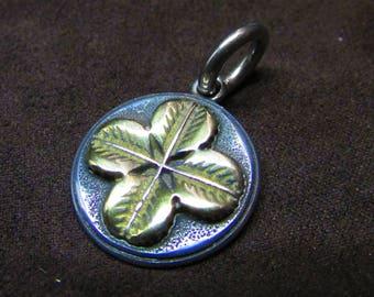 Stainless Steel Golden Lucky Four Leaf Clover Charm