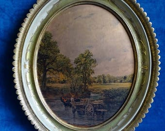 Painting classic print with boerenkar over River, in oval list