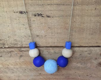 Handmade clay & wooden bead necklace shades of blue