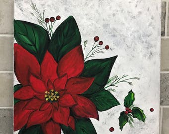 Hand Painted Poinsettia Canvas