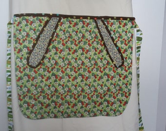 Women's half apron with pocket and summer themed fabric