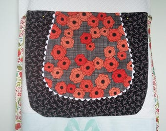 Women's reversible half apron with inner pocket; poppy and retro themed fabric