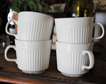 Vintage White Ribbed Mugs - Johnson Brothers Athena Cup - Set of 4