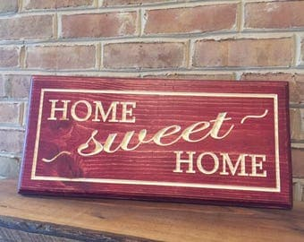 Home Sweet Home sign, custom wood sign, farmhouse sign, engraved sign, rustic decor, farmhouse decor, carved wooden sign, housewarming gift