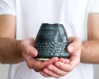 Small ceramic flower vase, pencil holder, dark green