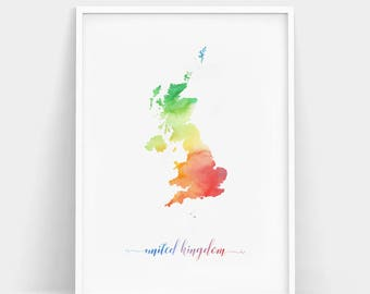 Watercolor United Kingdom Map Wall Art, United Kingdom Wall Art, Watercolor Map Print, Country Map Poster, Watercolor Country Map Print