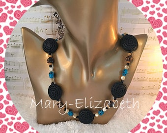 Get your beads on blue beaded necklace. Beaded summer jewelry, handmade beaded jewelry, beaded necklace