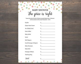 Coral, Mint Green, Gold, Baby Shower Games, Price is Right, Printable Baby Shower, Boy Baby Shower, Price is Right Baby Shower Game, S024