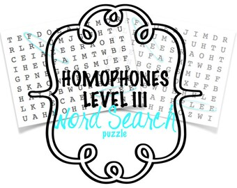 Homophones - Word Search Puzzle- Level III