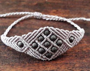 Silver macrame bracelet + beads