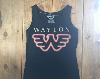 Waylon Jennings Officially Licensed Tank Top Running W Womens Large Mens Small