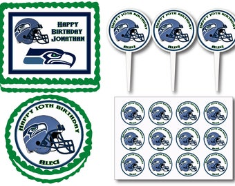 Seattle Seahawks Birthday Party Edible Cake Cookie Toppers or Plastic Cupcake Pick Stickers Decoration Baking Supply