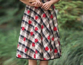 Women pattern dress,Linen skirt,Linen skirt