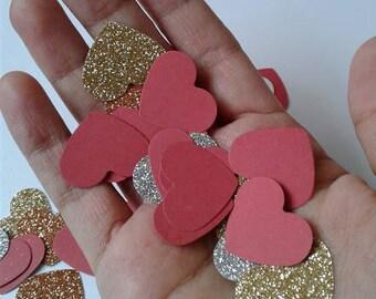 Red heart confetti, wedding confetti, Bridal shower confetti, bridal brunch party decor, paper confetti, bridal shower decor, wedding toss.