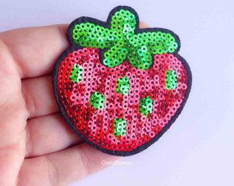 large sequin patch red fruit strawberry applique design 6.5 cm