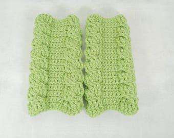 Long boho knit crochet green double cable arm warmers fingerless gloves