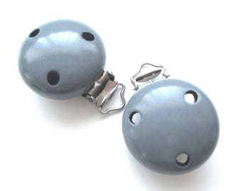 Wooden - dark grey pacifier clip