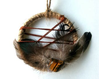Boho Dream Catcher, Reiki Healer, Holistic Gifts, Boho Decor, Gifts for her, Holiday Giving, Native American Made, Tiger Eye Crystal, Hippy