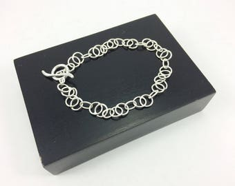 Sterling Silver Bracelet, Silver Minimalist Bracelet, Toggle Bracelet, Circle Bracelet, Simple Bracelet, Dainty Bracelet, gift for her