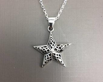 Sterling Silver Necklace, Silver Star Necklace, 5 pointed Star necklace, Simple  necklace, Minimalist Necklace, Gift teen