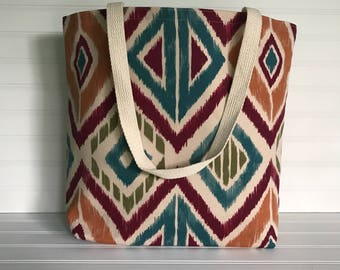 Handmade Everyday Tote | Beach Bag | Autumn Geometric Colored Tote