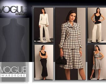 Vogue 1042 sewing pattern. Vogue Wardrobe.  Misses Jacket, Top, Dress, Skirt and Pants. Size 14-16-18-20. New, uncut, factory folded.